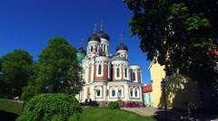 The church, temple in the Old Tallinn. Estonia. 4K. Stock Footage