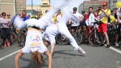 Brazilian national dance-fight Capoeira on a city street. Stock Footage