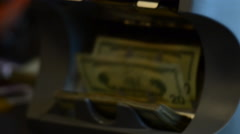 Money counter counting money- close up money - stock footage