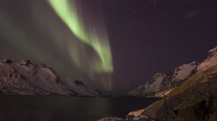 Northern light (aurora borealis) in a fjord 4K Stock Footage