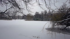 Frozen white pond in park Stock Footage