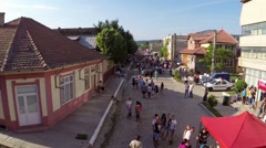 Greci Cherry Festival, aerial perspective Stock Footage