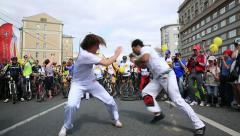 Brazilian national dance-fight Capoeira on a city street. Stock Footage