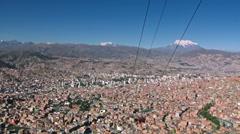 La Paz city Bolivia cable cart time lapse Stock Footage