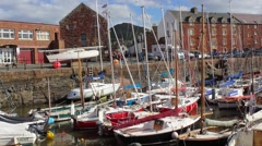 Boats in the harbour North Berwick Scotland HD footage Stock Footage