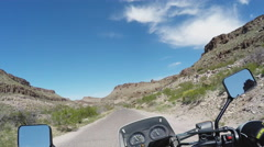Point Of View Motorcycle Rider On Narrow Canyon Road Stock Footage