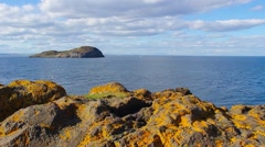 Rocks and the sea in North Berwick, Scotland,HD footage Stock Footage