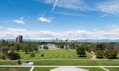 Denver Skyline Ultra Wide Angle - stock photo