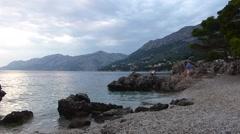 Brela beach in Croatia Stock Footage