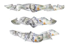 Set of Three One Hundred Dollar Bill Horizontal Graphic Photos Stock Photos