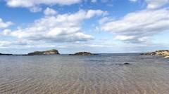 Sunny beach in North Berwick, Scotland, United Kingdom, HD Stock Footage