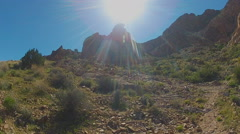 Sun Over Black Mountain Peak- Golden Valley AZ Stock Footage