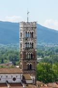 The tower of the Cathedral of St Martin in Lucca Stock Photos