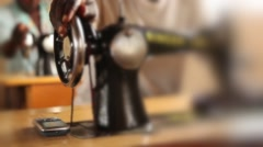 Sewing machine tilt shift - stock footage