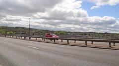 Many Cars Ride Over Bridge Stock Footage