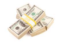 Stacks of One Hundred Dollar Bills Isolated - stock photo