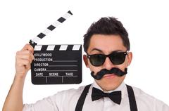 Whiskered young man with clapperboard isolated on white - stock photo