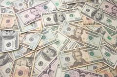 Stacks of Unites States Money Background - Contains Recent Currency Designs. - stock photo