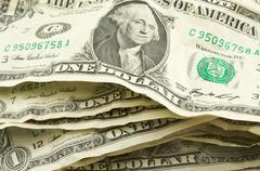Pile of Crumpled Dollar Bills Stock Photos