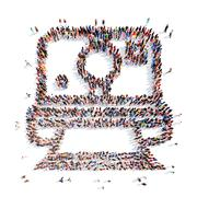 People in the shape of a printer Stock Illustration
