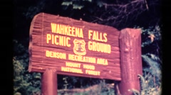 Wahkeena Falls, establishing Stock Footage