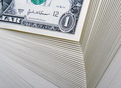 Abstract of a Large Stack of One Dollar Bills Stock Photos