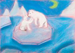 Children drawing - bear with a cub on an ice floe Stock Illustration