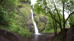 Horsetail Falls, Columbia River Gorge NSA, WA Stock Footage