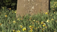 The Life and Death of People Church Graveyard in Spring Stock Footage