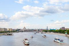 excursion ships in Moskva Rive, Moscow - stock photo