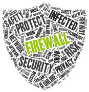 Firewall word cloud in a shape of shield - stock illustration