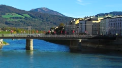 Timelapse of River Salzach flowing through Salzburg Stock Footage