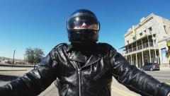 Helmeted Motorcycle Rider On Route 66-Kingman AZ Stock Footage