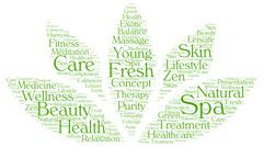 Spa word cloud in a shape of lotus - stock illustration
