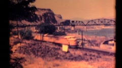 Eastern Oregon 1955 speeding train Stock Footage