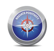 Radiate Positivity compass sign concept - stock illustration