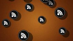 Flying rss icons. Looping. Alpha channel is included. Stock Footage