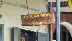 New Orleans Historic Voodoo Museum Entrance Sign Stock Footage