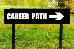 CAREER PATH written on directional black metal sign  - stock photo