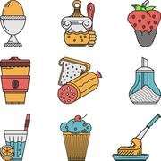 Breakfast colored flat icons vector collection Stock Illustration