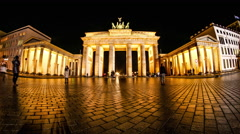 Timelapse of the Brandenburger Gate in Berlin at night - stock footage