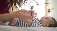playing with the baby - stock footage
