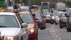 Taxis and Toronto traffic gridlock during protest against UBER and LYFT Stock Footage