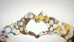 Hands heart shape kaleidoscope DE Stock Footage