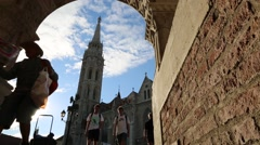 People visiting the Fishermans Bastion in Budapest Stock Footage