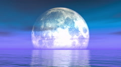 4k Full Moon on the water,reflect on the sea,Science Fiction Scene,purple cloud Arkistovideo