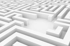 White maze, complex way to find exit. Stock Illustration