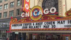 The famous Chicago Theatre marquee Illinois, USA. - stock footage