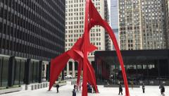 Red Flamingo Sculpture in Chicago, Illinois, USA Stock Footage
