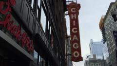 The famous Chicago Theatre, Illinois, USA. - stock footage